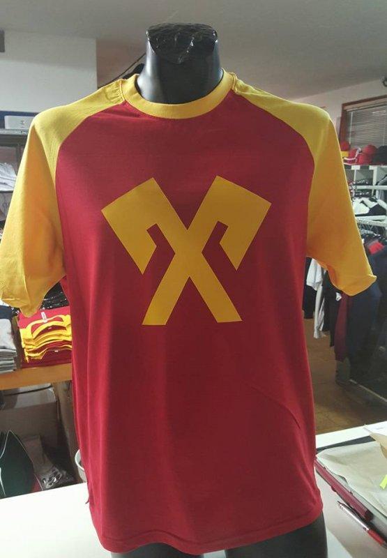T-Shirt rot gelb mit Druck